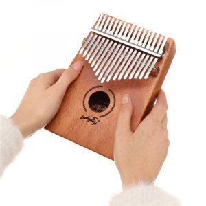 17 Keys Kalimba African Solid Mahogany Wood Thumb Piano Finger Percussion Musical Presents