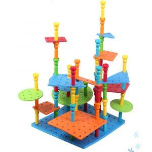 WIZCOM Bubbles Blockerar  Pegs Modellbyggnad Logisk tänkande Set Gummitorn Mats Pedagogiska Leksaker