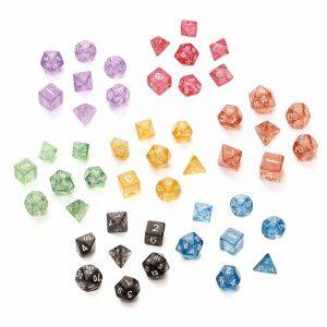 7st TRPG Game Dungeons & Dragons Glitter D4-D20 Multi Sidor Tärningrosa