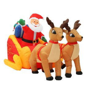 2.2M Jingle Jollys Julgransdekoration Uppblåsbara leksaker Santa Sleigh Ride Reindeer Deer Decor