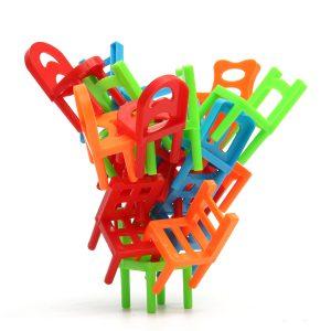 18X Plastbalans Leksaker Stacking Stolar För Barn Skrivbord Spela Spel Leksaker Föräldrabarn Interagera