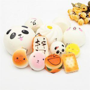 12st Random Squishy Toy Soft Kawaii Gullig Bröd Bun Telefon Nyckelring Charms With Rope
