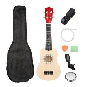 21 tums Burlywood Sopran Ukulele Uke Hawaiian Guitar 12 Fret With Tuner Strap bilrying Bag