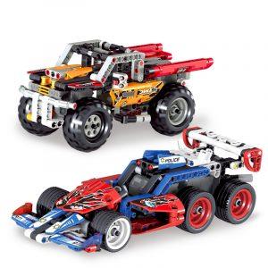 Montering Byggblock Dra tillbaka Tävlings bil Modell Leksaker