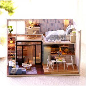 CuteRoom L-023 Blå Tid DIY Hus Med Möbler Musik Lätt Överdrag Miniatyrmodell Present Inredning