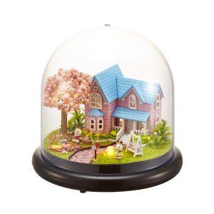 1:32 Cuteroom Dockhus Miniatyr Cherry House DIY Kit med lock och LED