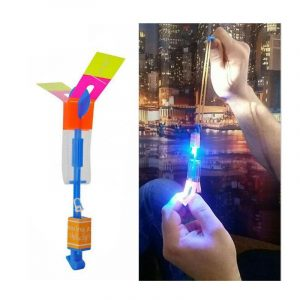 20PCS Amazing Flash LED Light Rocket Helikopter Rotating Flying Planet Toy Party Fun Pink
