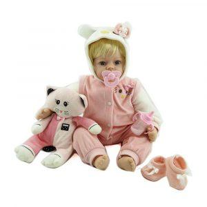 NPK Docka 22 '' Katt Reborn Silicone Handgjorda Livlig Baby Docka Realistisk Nyfödd Toy