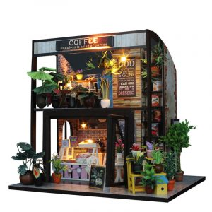 DIY Stuga Dockhus Kaffebar Möbler Handgjorda Craft Dockhus med LED-ljus