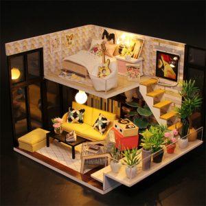 Hoomeda M031 Cynthias Holiday DIY Hus Med Möbler Musik Ljusöverdrag Miniatyrmodell Present Inredning