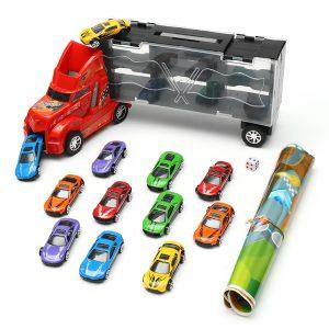 DiBang Container Truck med 12 legering bil pussel simulering bil modell schack ljud leksak gåva