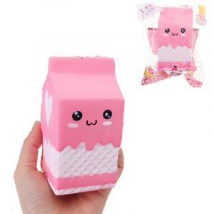 Squishy Pink Milk låda Flaska 12cm Långsam Rising Collection Present Inredning Mjuk Toy
