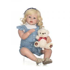 NPK 28inch Reborn Toddler Girl Dockas Mjuka Silikondukar Barn Present Reborn Bonecas