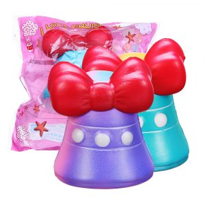 Bow-Knot Bell Squishy 12cm Jumbo Långsam Rising Soft Toy Present Collection med förpackning