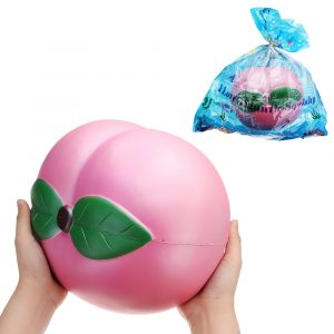 Enorma persikor Squishy Jumbo 25 * 23cm Frukt långsammare mjuk Leksakeruppsamling med packning jätte leksak