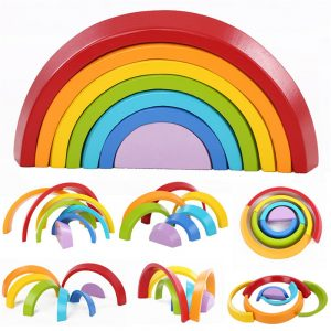 7 färger Trä Stacking Rainbow Form Barn Barn pedagogisk Play Leksaker Set