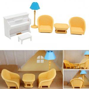 Dockhus Soffa Piano Bord Miniature Möbel Sets För Sylvanian Family Tillbehör Barn Present Leksaker