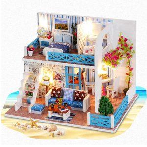 Hantverk DIY Dockhus Sea Wooden Miniatyr Möbler Dockhus Present