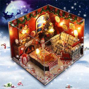 DIY trä docka hus möbler kit LED ljus miniatyr jul rum pussel leksak gåva dekor