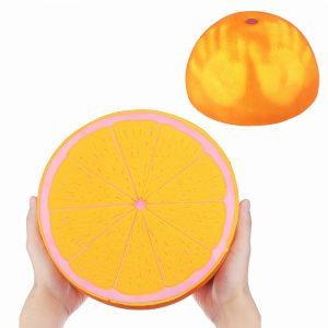 Temperaturkänslig Squishy Fruit 25cm Stor Orange Långt stigande Leksaker Change Color Leksaker