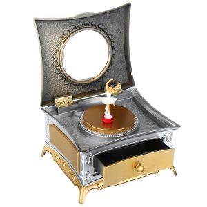 Klassisk roterande tjej Musiklåda Smycken Förvaring Make up Mirror Dresser Väska