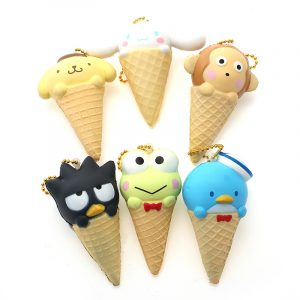 Squishy Bird Frog Dog Monkey Ice Cream With Ball Chain Telefonväska Rem Decor Decor Toy