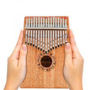 17 Key African Mahogany Trä Kalimba Thumb Piano Finger Percussion Music Mbira