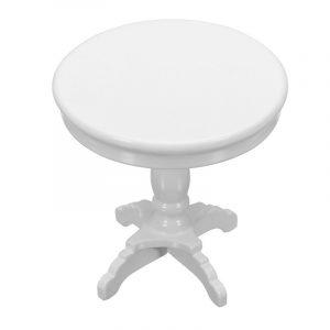1 12 Dockhus Miniatyr Möbler Trä Runda Kaffebord Vit Barn Hemma Spel
