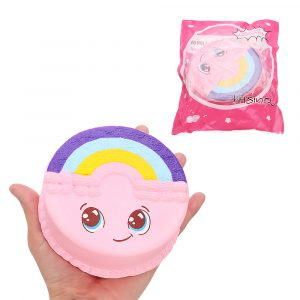 Rainbow Smile Cake Squishy 12cm långsammare med Packaging Collection Present Soft Toy