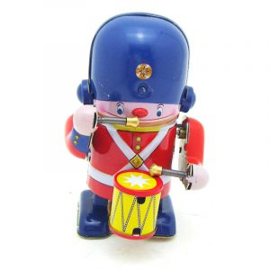Klassisk Vintage Clockwork Wind Up Drummer Marching Band Robot Barn barns Tin Leksaker With Key
