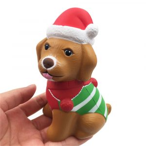 Squishyfun Christmas Puppy Squishy 13 * 8,5 * 6,5 cm Licensierad Slow Rising Med Packaging Collection Present