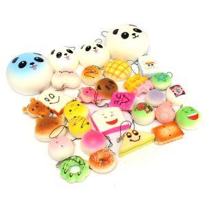 12st Random Kawaii Squishy Panda Bun Toasts Multi Donuts Squishy Mjuka Mobiltelefonband