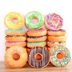 Donut Plush Fylld Toy Mjuk Donut Mat Tillbaka Sadelbil Set barns Present Decor