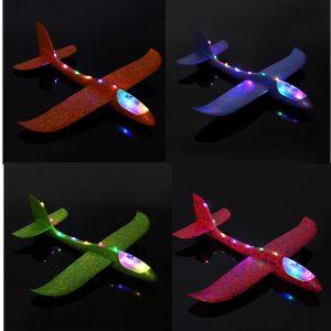 4st 19 '' Handlansering Kasta Flygplan Flygplan Glider DIY Tröghets EPP Plane Leksaker Med LED Light