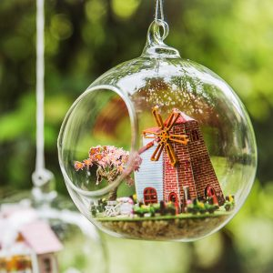 Iiecreate G-014 Resa till Holland DIY dockhus Tower Glass Ball Mini House monterade leksaker