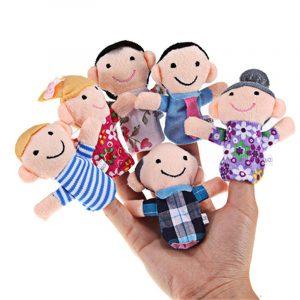 6 st / lot Fylld plysch leksak Familj Finger Dockor Set Boys Girls Pedagogiska Hand Toy Bedtime Story