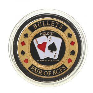 Metal Poker Guard bild Protector Coin Chip Guldfärgad pläterad med rund plastfodral