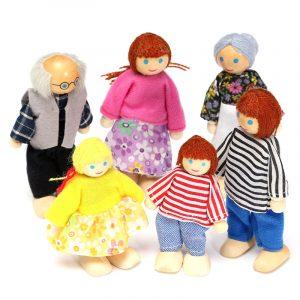 6st trä familjemedlemmar dockor uppsättning barn barn leksak dockor figurer klädda tecken