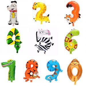 Söt djurtecknad Arabisk Numerisk Folie Ballonger Antal Uppblåsbara barns Toy Party Bröllopsinredning