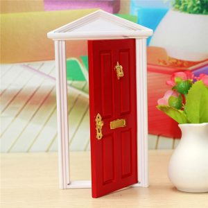 1/12 Dockhus Miniature Wood Fairy Door Red sammansatt med metalltillbehör Toy