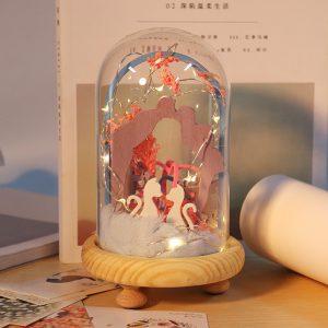 iiecreate DIY Time Lover Handgjord Dockhus Lovely Kit med LED Light Sweet Sunshine Dockhus