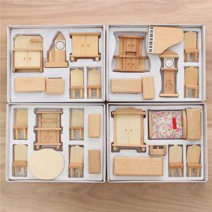 Ny 29 st 1:24 Scale Dockhus Miniatyr Unpainted Trä Möbel Modell Suite