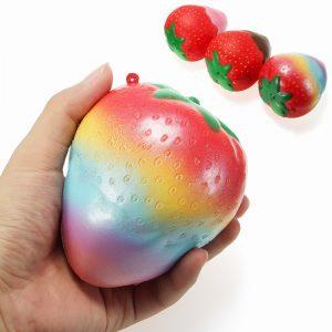 Squishy Rainbow Jam Choklad Jordgubb Jumbo 10cm Mjukt Långsam Rising Frukt Samling Present Decor Toy