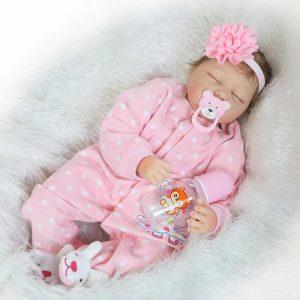 22''Handmade Lifelike Baby Girl Docka Silikon Vinyl Reborn Newborn Dockas Clothes