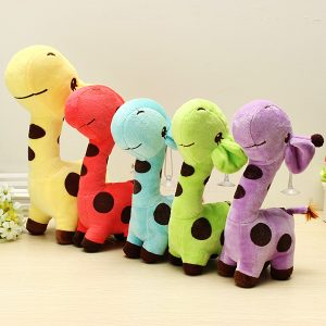 Multicolored biltoon Plush Giraff Sika Deer Fyllda Leksaker Barn Present