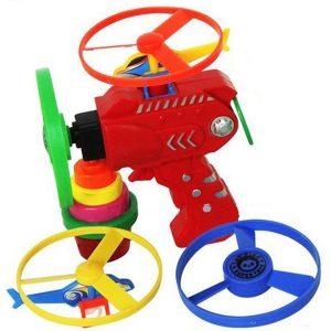 Barn utomhus Plane Toy ficklampa UFO Flying Saucer Top Leksaker