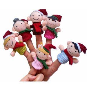 """Julfamilj"" 'barns Pedagogiska Leksaker Finger Puppet Plush Story 6 st"