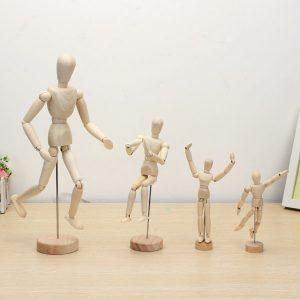Träformad docka Man Siffror Modellmålning Sketch Tecknad
