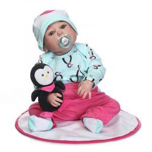 23 '' Reborn Newborn Dockas Handgjorda livliga Baby Full Silicone Vinyl Girl Docka