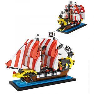 Svart  Hav  Barracuda Pirat  Fartyg  Mini DIY Montering Byggsten Blockera Tegel Leksaker